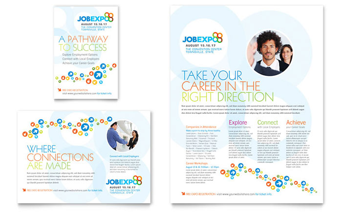 Job Expo & Career Fair Flyer & Ad Template Design