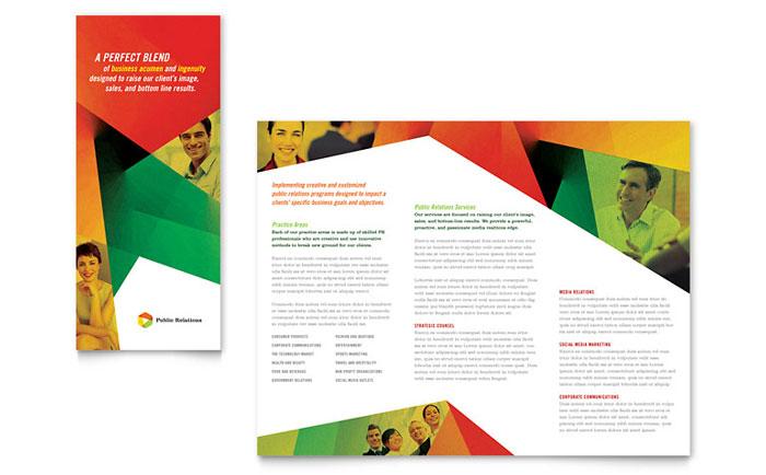 Public Relations Company Tri Fold Brochure Template Design