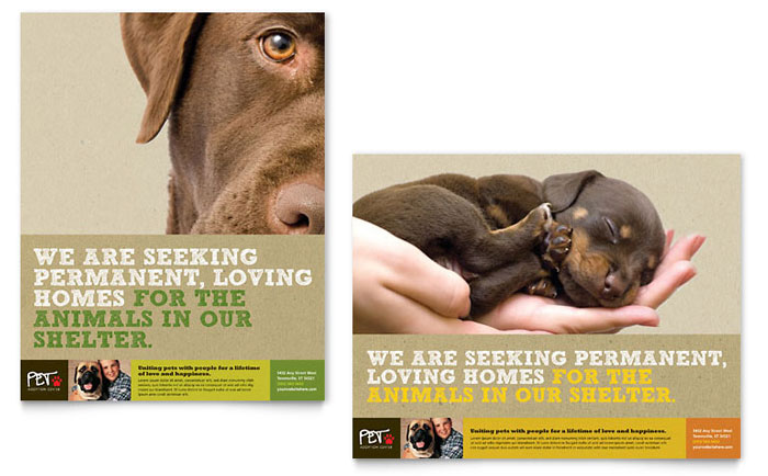 Animal Shelter & Pet Adoption Poster Template Design