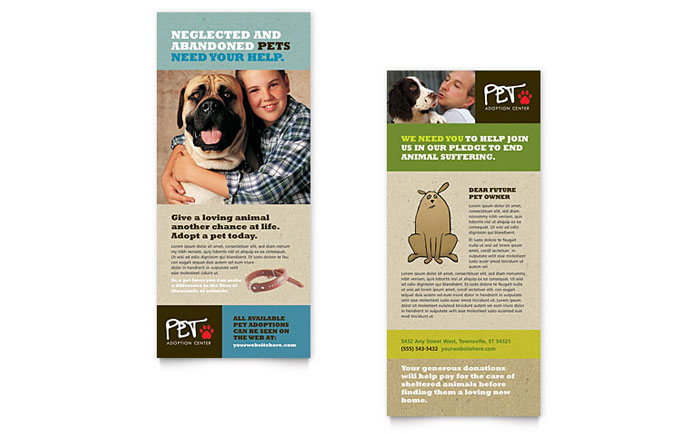 Animal Shelter & Pet Adoption Rack Card Design
