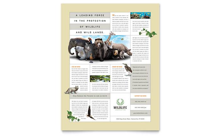 Nature  Wildlife Conservation Flyer Template Design