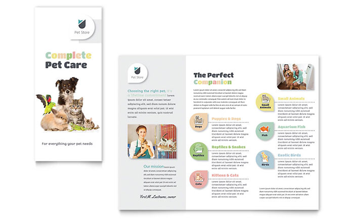 Pet Store Tri-Fold Brochure Design