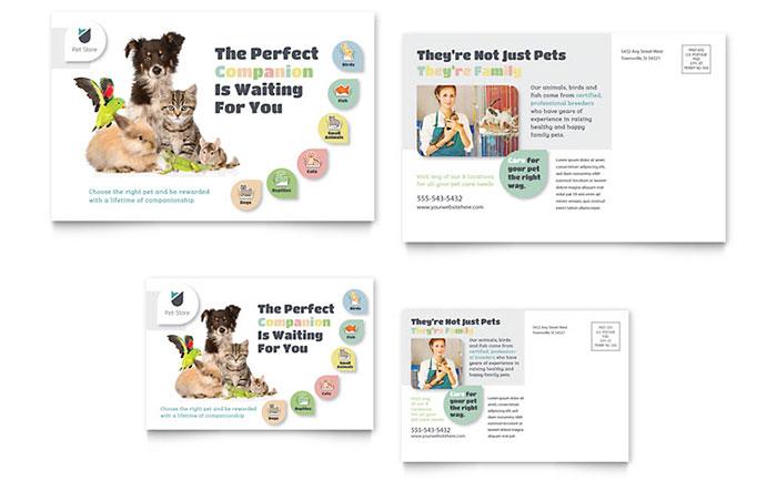 Pet Store Postcard Template Design