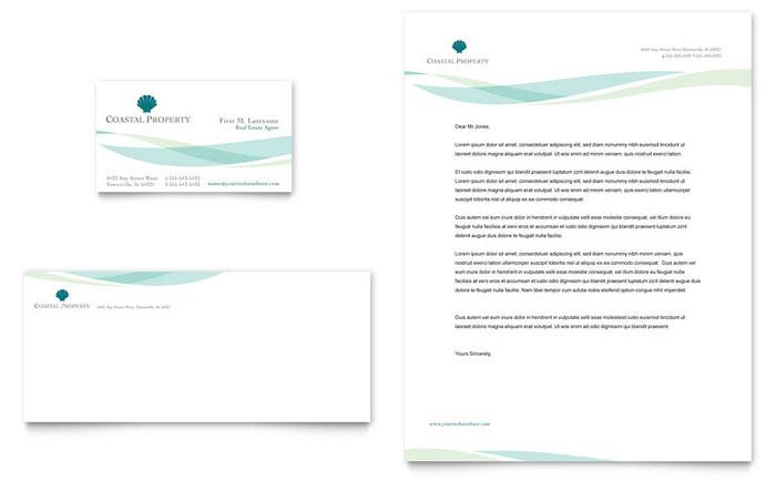 Coastal Real Estate Business Card & Letterhead Template Design