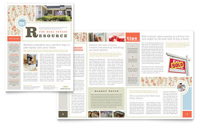 Real Estate Home for Sale Newsletter Design