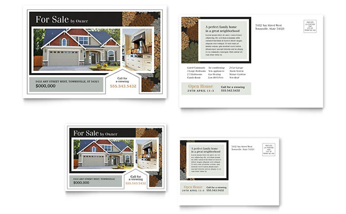 For Sale by Owner Real Estate Postcard - Sample Template