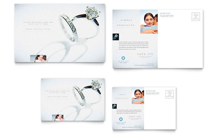 Jeweler & Jewelry Store Postcard Template Design