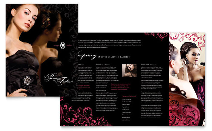Formal Fashions & Jewelry Boutique Brochure Template Design