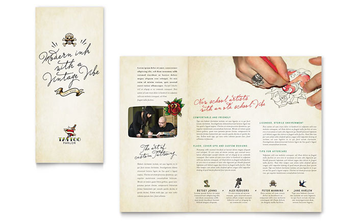 Tattoo Artist Tri Fold Brochure Design