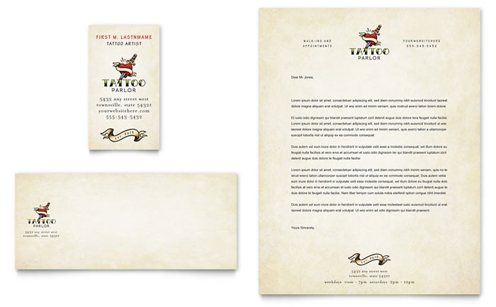 Body Art & Tattoo Artist Business Card & Letterhead