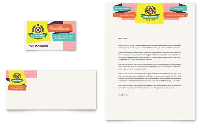 Kids Consignment Shop Business Card & Letterhead Template