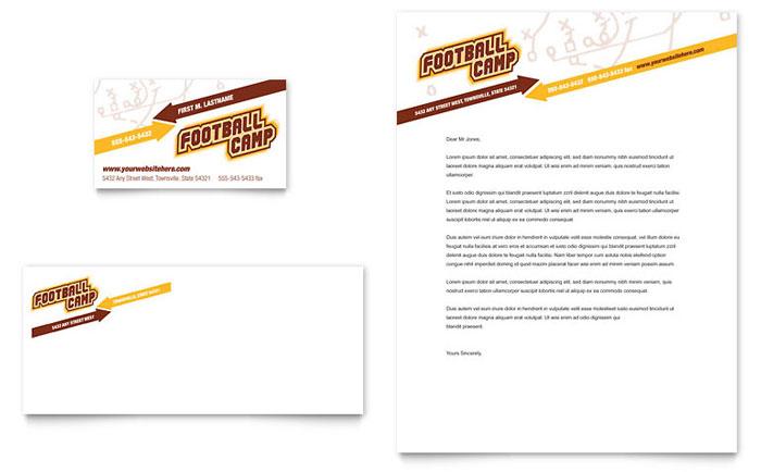 Football Sports Camp Business Card & Letterhead Template