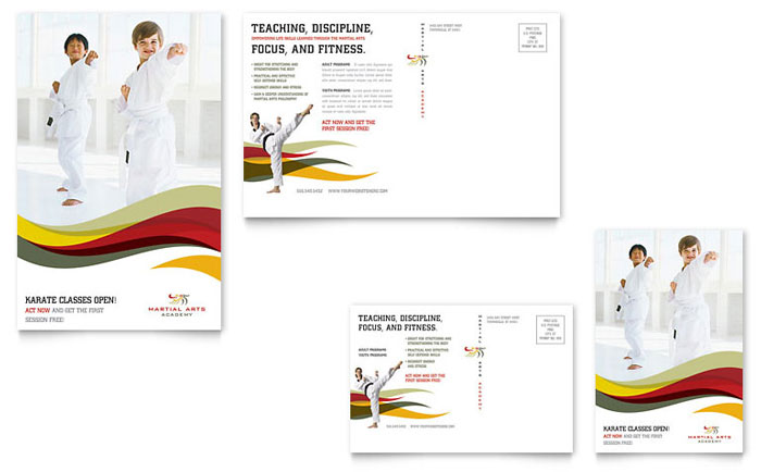 Karate & Martial Arts Postcard Template Design
