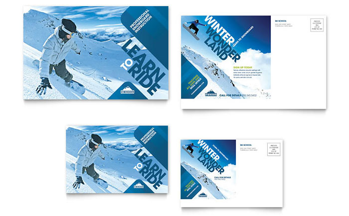 Ski Resort Templates Brochures Flyers Business Cards
