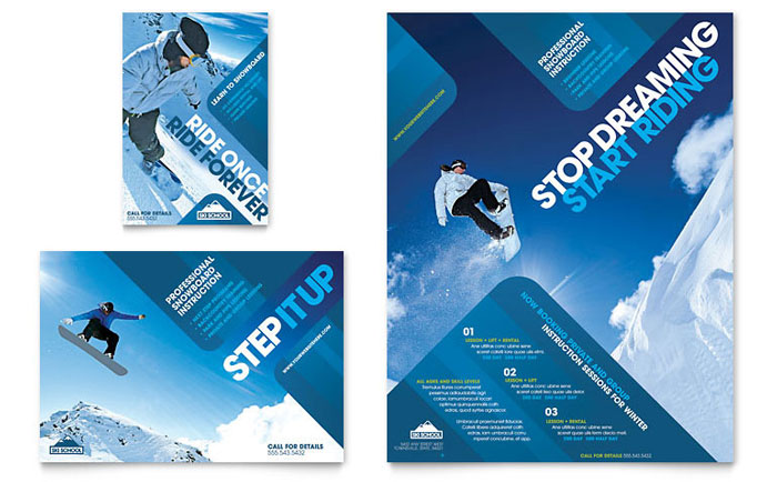 Ski Resort Leaflets Templates & Graphic Designs