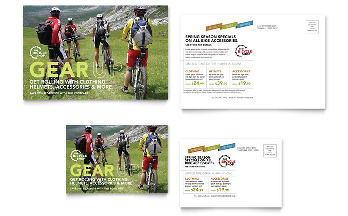 Bicycle Adventures Direct Mail Postcard Design Idea