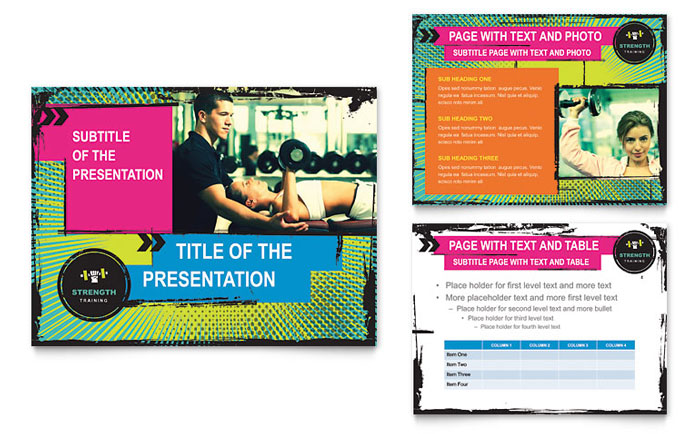 Strength Training PowerPoint Presentation Template Design