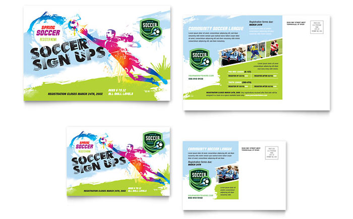 Youth Soccer Postcard Template Design
