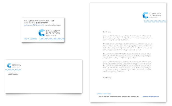 Community Swimming Pool & Recreation Center - Business Card & Letterhead Design
