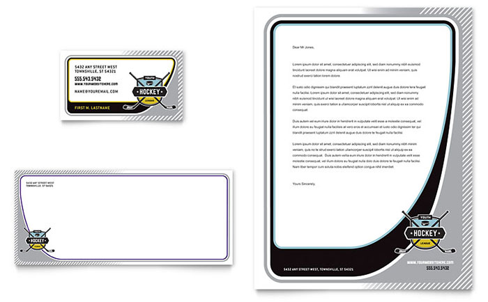 Hockey Camp - Business Card & Letterhead Design Sample