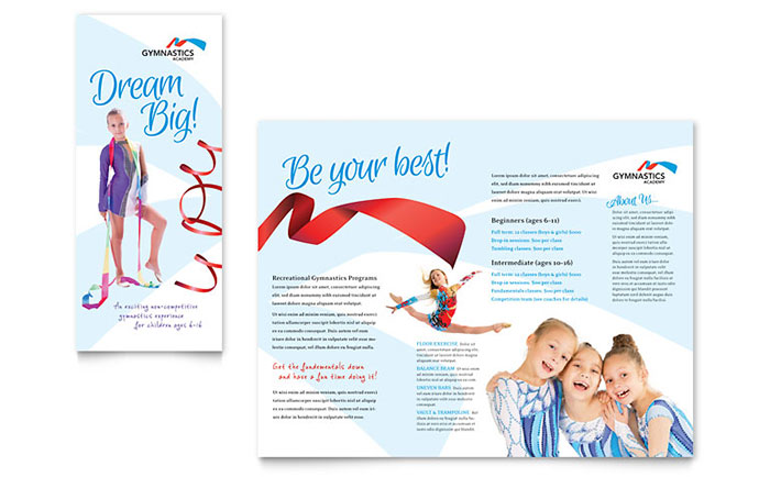 Gymnastics Academy Brochure Template Design