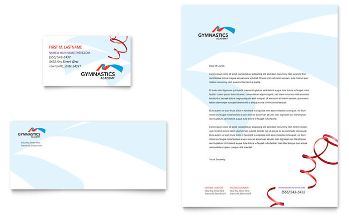 Gymnastics Academy - Business Card Design Example