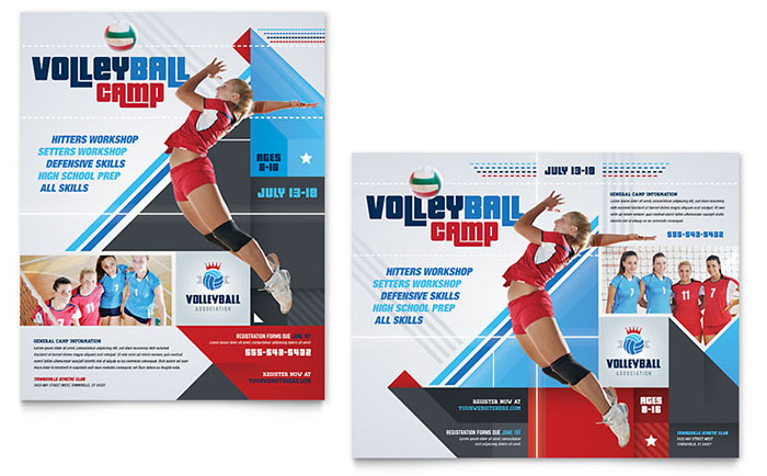 Volleyball Camp Poster Template Design