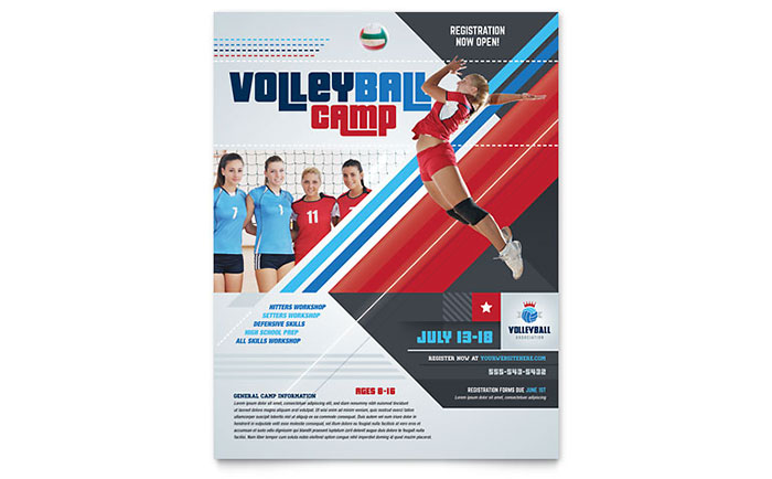 Volleyball Camp Flyer Template Design