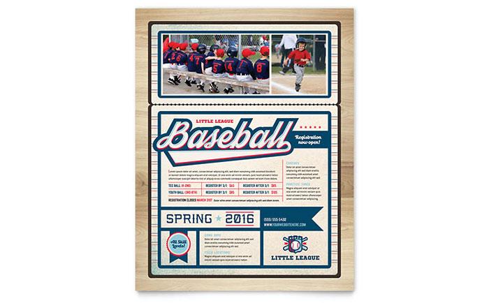 Baseball League Flyer Template Design