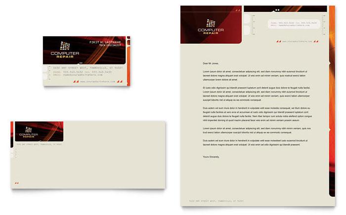 Computer Repair Business Card & Letterhead Template Design