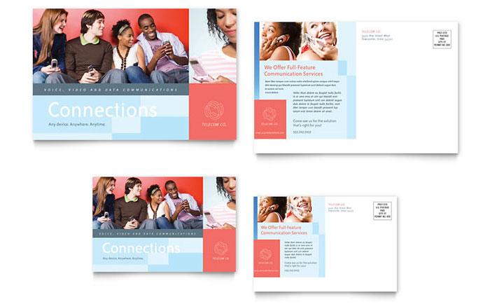 Communications Company Postcard Template Design