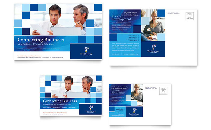 Technology Consulting & IT Postcard Template Design