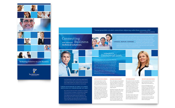 Technology Consulting & IT Tri Fold Brochure Template Design