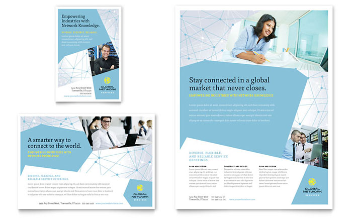 Global Network Services Flyer  Ad Template Design