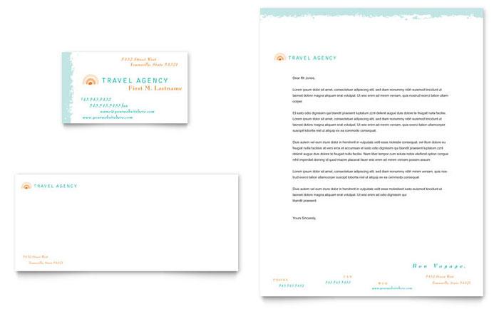 Travel Agency Business Card & Letterhead Template Design
