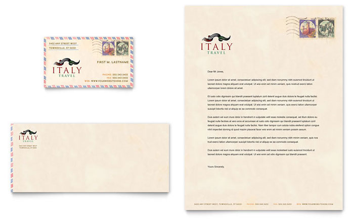 Italy Travel Business Card & Letterhead Template Design
