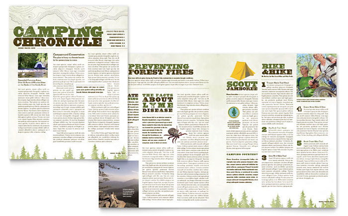 Nature Camping & Hiking Newsletter Template Design