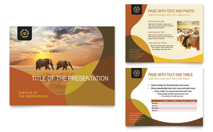 African Safari PowerPoint Presentation Template Design