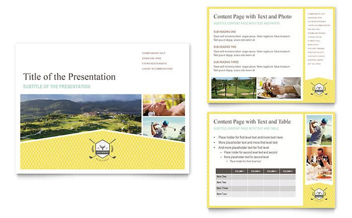 Golf Resort PowerPoint Presentation Template Design