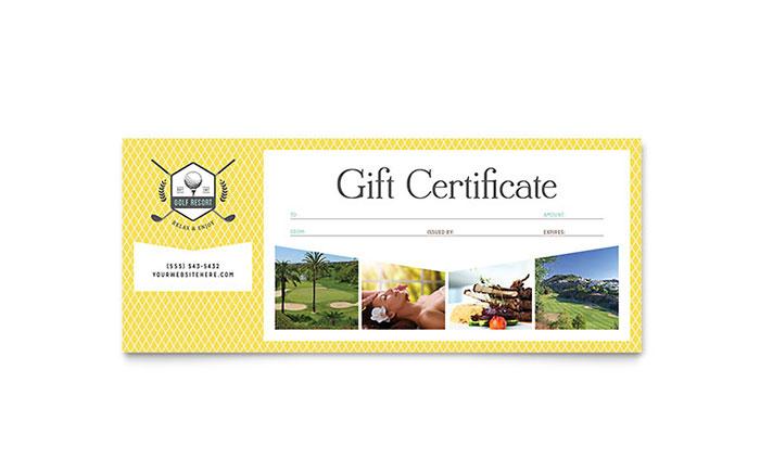 Golf Resort Gift Certificate Template Design