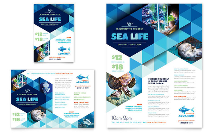 Ocean Aquarium Flyer & Ad Template Design