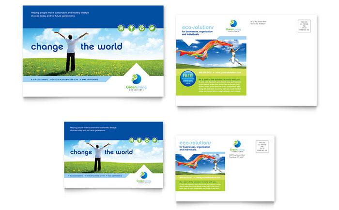 Green Living  Recycling Postcard Template Design
