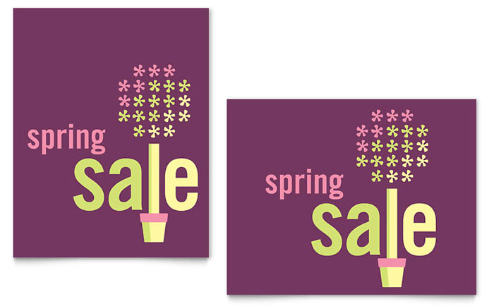 Spring Plant Sale Poster Template Design