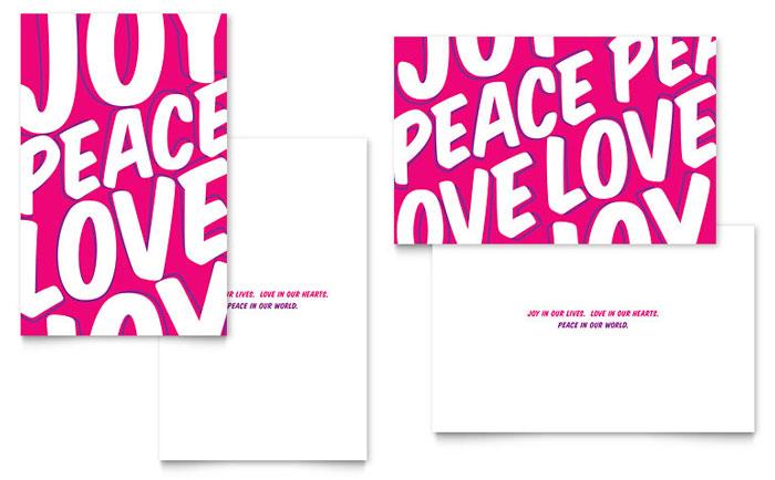 Peace Love Joy Greeting Card Design