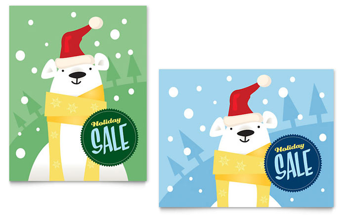 Santa Polar Bear Poster Design