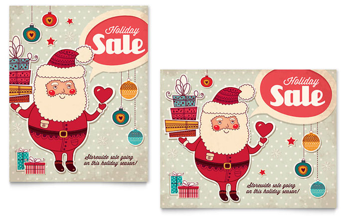 Retro Santa Sale Poster Design