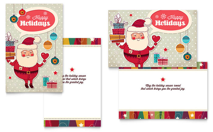 Retro Santa Greeting Card Design