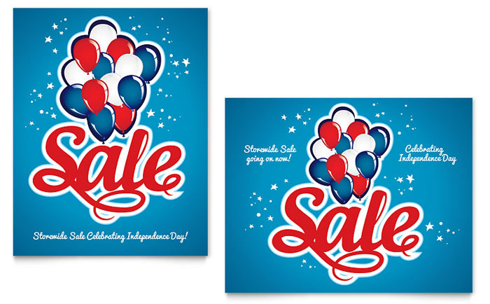 Celebration Balloons - 4th of July Sale Poster Example