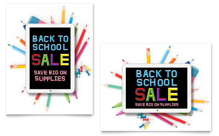 School Supplies Sale Poster Template Design