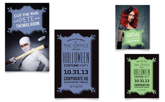 Invitation Note Card Example - Halloween Office Party
